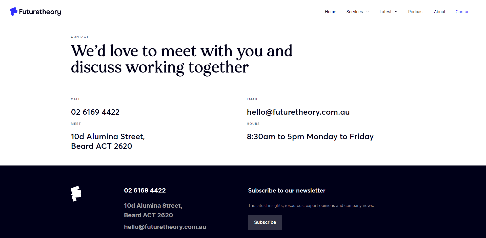 The futuretheory contact page